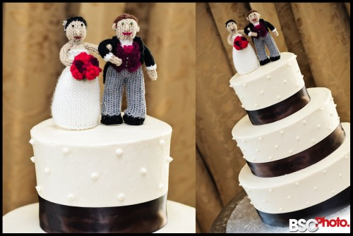 Hand knitted bride and groom cake topper